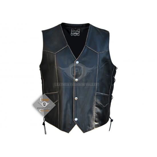 American Eagle Mens Motorbike Leather Vest Jacket