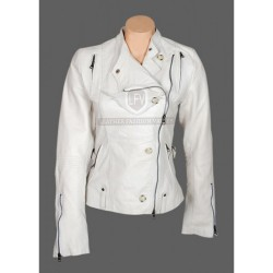 Anne Hathaway Get Smart White Leather Jacket