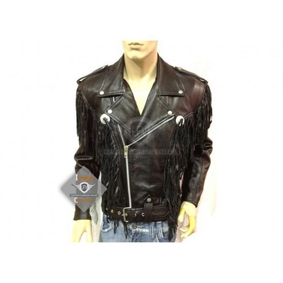 Black Western Style Motorcycle Safety Leather Jacket