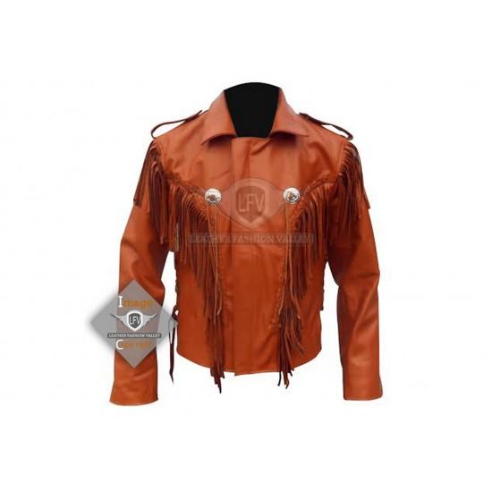 Brown Western Cowboy Fashion Leather Jacket