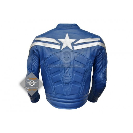 Captain America Chris Evans The winter soldier royal blue costume leather jacket