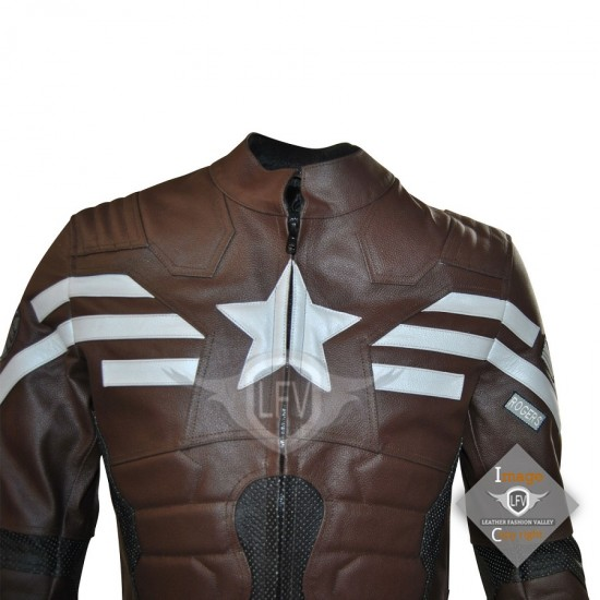 Captain America The Winter Soldier Stealth Strike Leather jacket (Dark Brown)