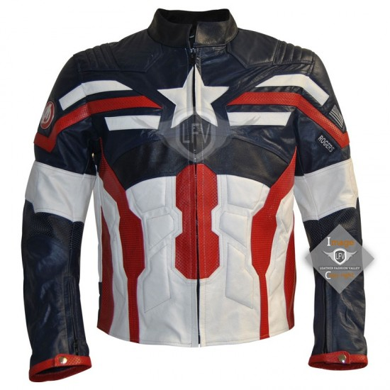Captain America Leather Motorcycle  Jacket