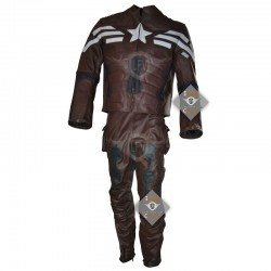 Captain America The Winter Soldier Movie Costume Motorcycle Leather Full Suit (Dark Brown)