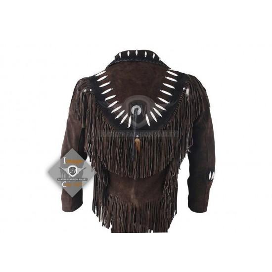 chocolate Western Cowboy Fashion Leather Vest Jacket