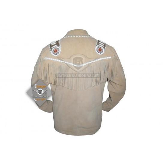Cream Western Cowboy Fashion Leather Jacket