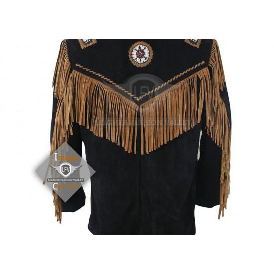 Golden Western Cowboy Fashion Leather Jacket