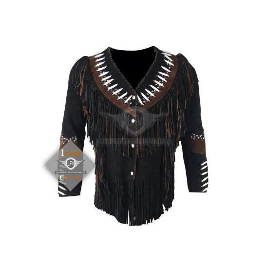 Jet Black Western Cowboy Fashion Leather Vest Jacket