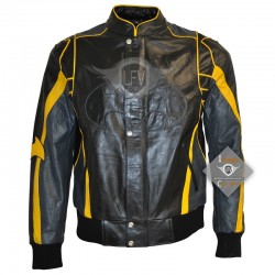 Movie Costume Black & Yellow Leather Jacket
