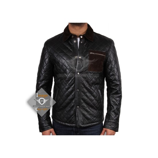 New Mens Handmade Black Quilted Slimfit Leather Jacket