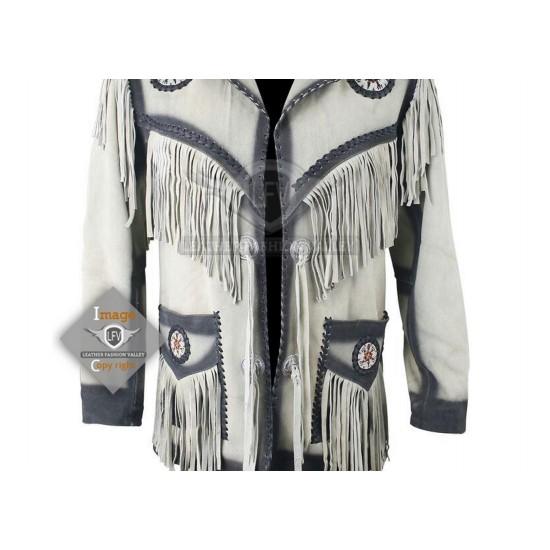 White Western Cowboy Fashion Leather Jacket