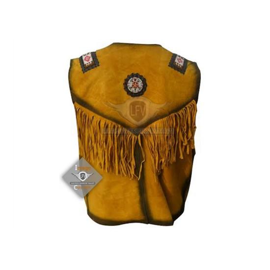 Yellow Western Cowboy Fashion Leather Vest Jacket