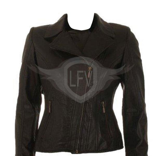 Black Two Front Pocket Brando Style Leather Jacket