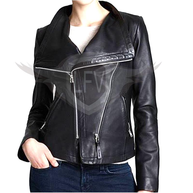 Women Classic Us Style Leather Jacket
