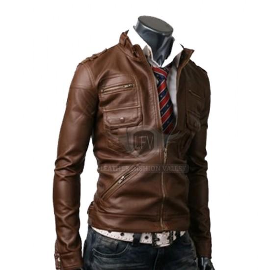Designer Brown Slim Fit Leather Jacket