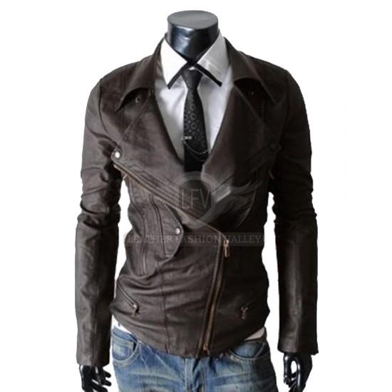 Multi Pocket Slim Fit Brown Rider Leather Jacket