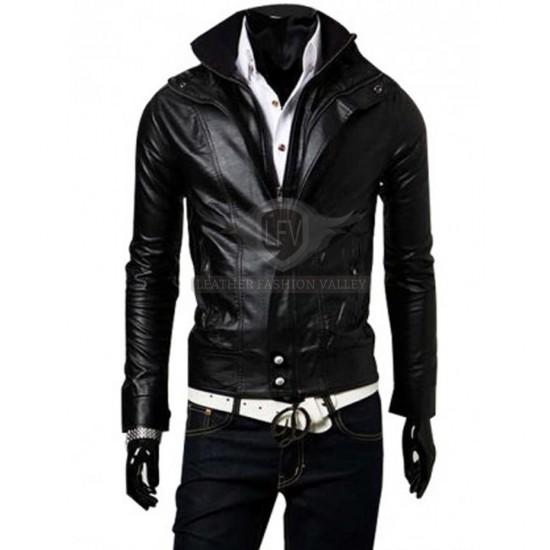 Black Stylish Slim Fit Leather Jacket