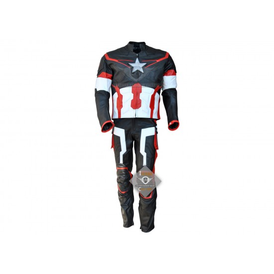 Avengers Age Of Ultron Captain America  Full Leather Costume Black & Red