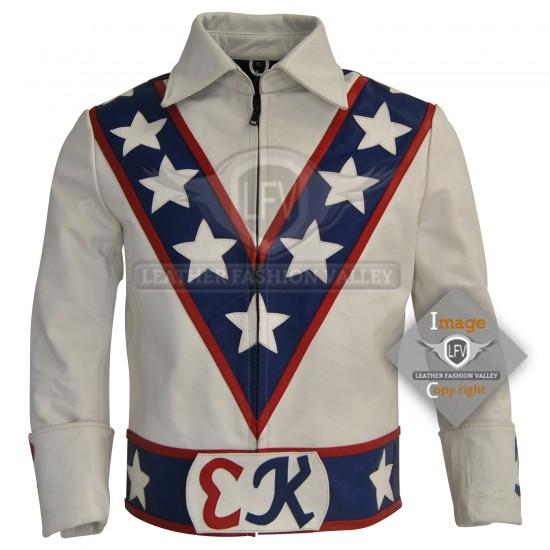 Evel Knievel White Motorcycle Leather Jacket Costume