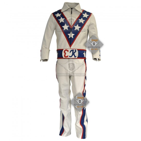 Evel Knievel Motorcycle Leather Costume Stuntman Jumpsuit
