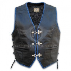 Trendy Men Black/Blue Western Leather Vest