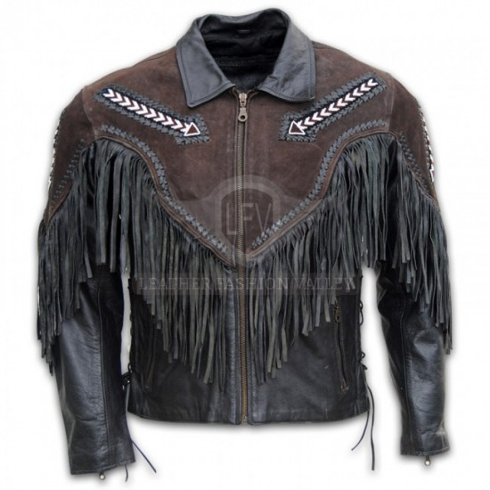 Men Black & Brown With Fringe Leather Jacket