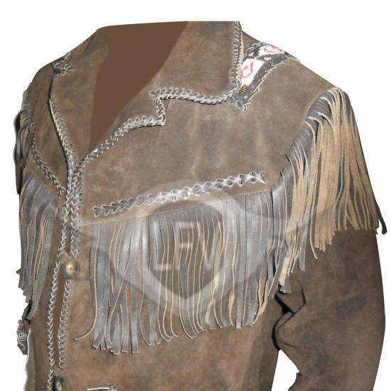 Mens Suede Leather Western Style Jacket