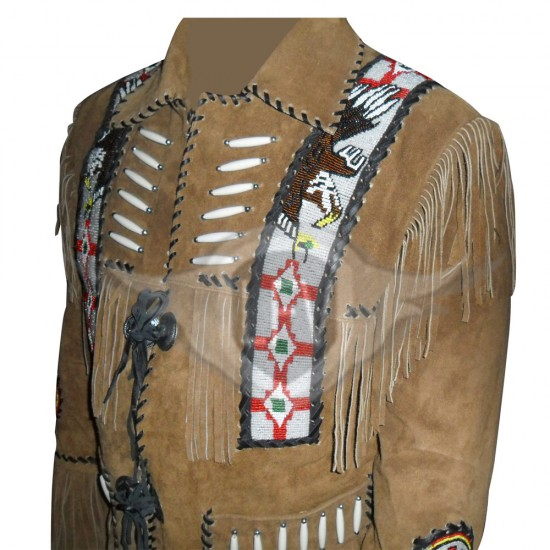 Beaded Fringed Men's Western Leather Suede Jacket