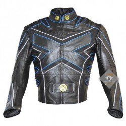 Xmen 3 Wolverine Leather Jacket with Blue Piping