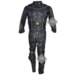 Xmen 3 Wolverine Leather Costume with Blue Piping