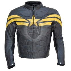 Captain America Winter Soldier Black Yellow Leather Jacket