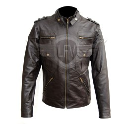 Dark Brown Multi Pocket Biker Leather Jacket