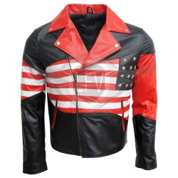 Classic American Flag Leather Jacket For Men